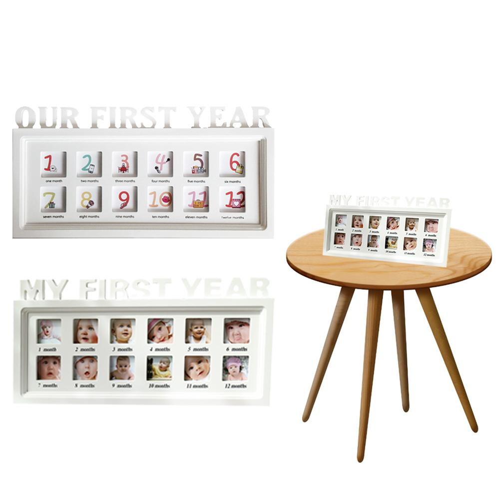 Innovative Baby Commemorative Album Baby Album Photo Frame 12 Month Growth Dust-proof Wooden Frame For Wall Hanging Table