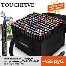 TOUCHFIVE Marker 12 36 48 80 168 Farben Dual Tipps Alkohol Grafik Skizzieren Marker Stift für Lesezeichen Manga Zeichnung Kunst liefert