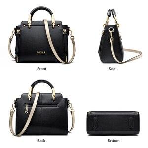 Image 4 - Foxer bolsa feminina chique totes feminino dividir sacos de ombro couro grande capacidade bolsas à moda sacos do mensageiro 928019f