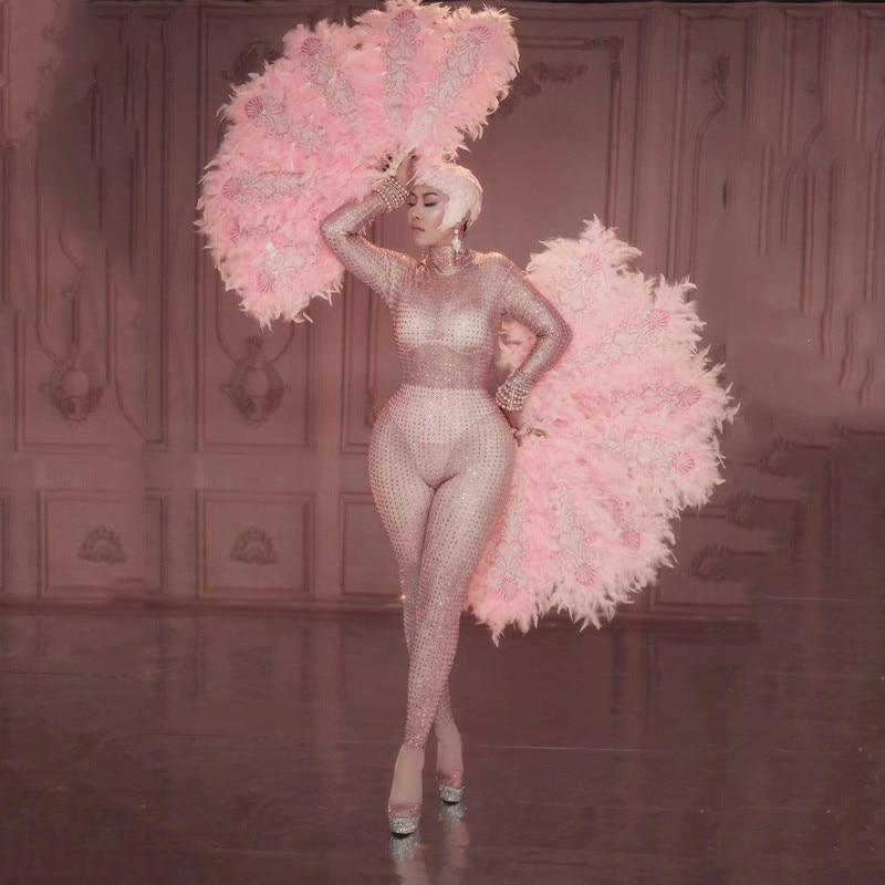 Новый Блестящий розовый комбинезон с кристаллами, сексуальный перьевой веер, женский наряд для ночного клуба, певицы, костюмы для сценическ