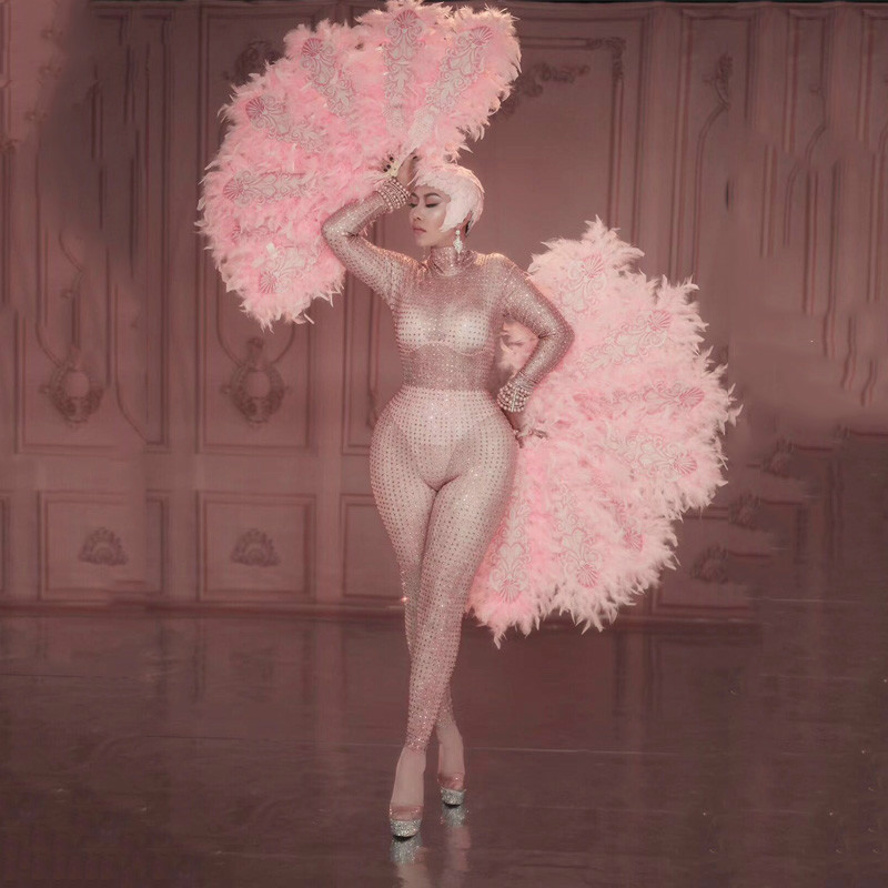 New Glisten Crystals Pink Jumpsuit <font><b>Sexy</b></font> Feather Fan Women Outfit Nightclub <font><b>Singer</b></font> <font><b>Costumes</b></font> <font><b>Stage</b></font> Dance <font><b>DS</b></font> Performance <font><b>Costume</b></font> image