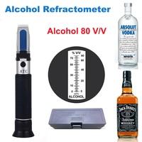 Refraktometr alkoholowy alkoholometr 0 80% V/V domowej roboty do alkoholu Whisky Brandy wódka tester spirytusowy ATC refraktometr alkohol w Refraktometry od Narzędzia na