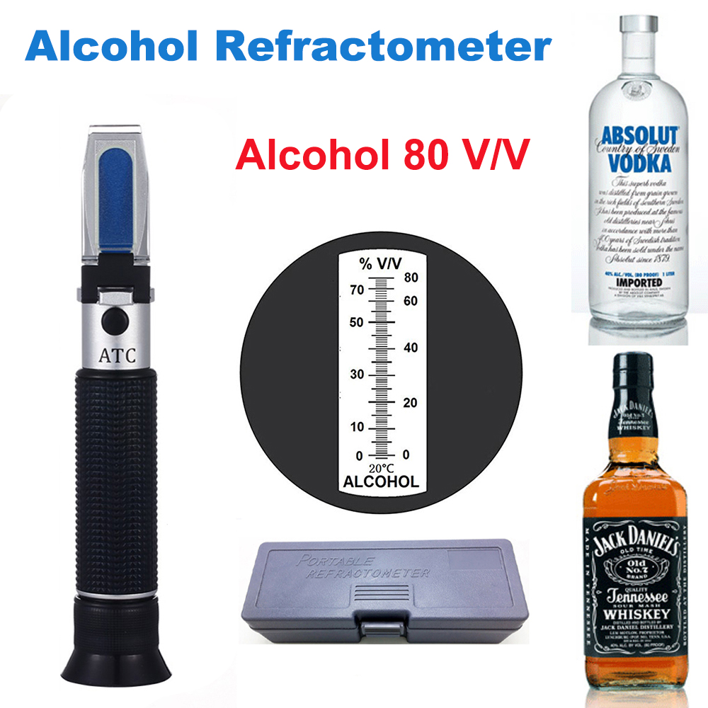 Alcohol Refractometer Alcoholometer 0-80 % V/V Homemade For Liquor Whisky Brandy Vodka Spirit Tester ATC Refractometer Alcohol