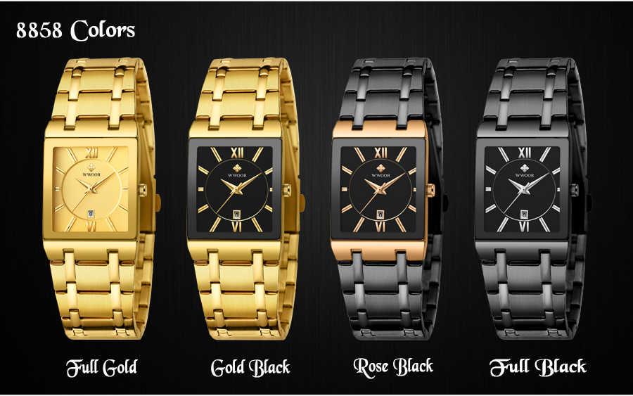 WWOOR יוקרה למעלה מותג זהב גברים שעון יפני קוורץ מלבני שעוני יד לזכר שעוני תאריך שעונים מתנות reloj mujer