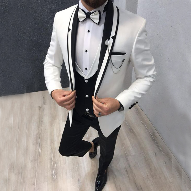 2019 Costume Homme Italian Design Formal Dress Sets Groom Suits Tuxedos Mens Suits 3 Pieces For Wedding Party Best Man Blazer