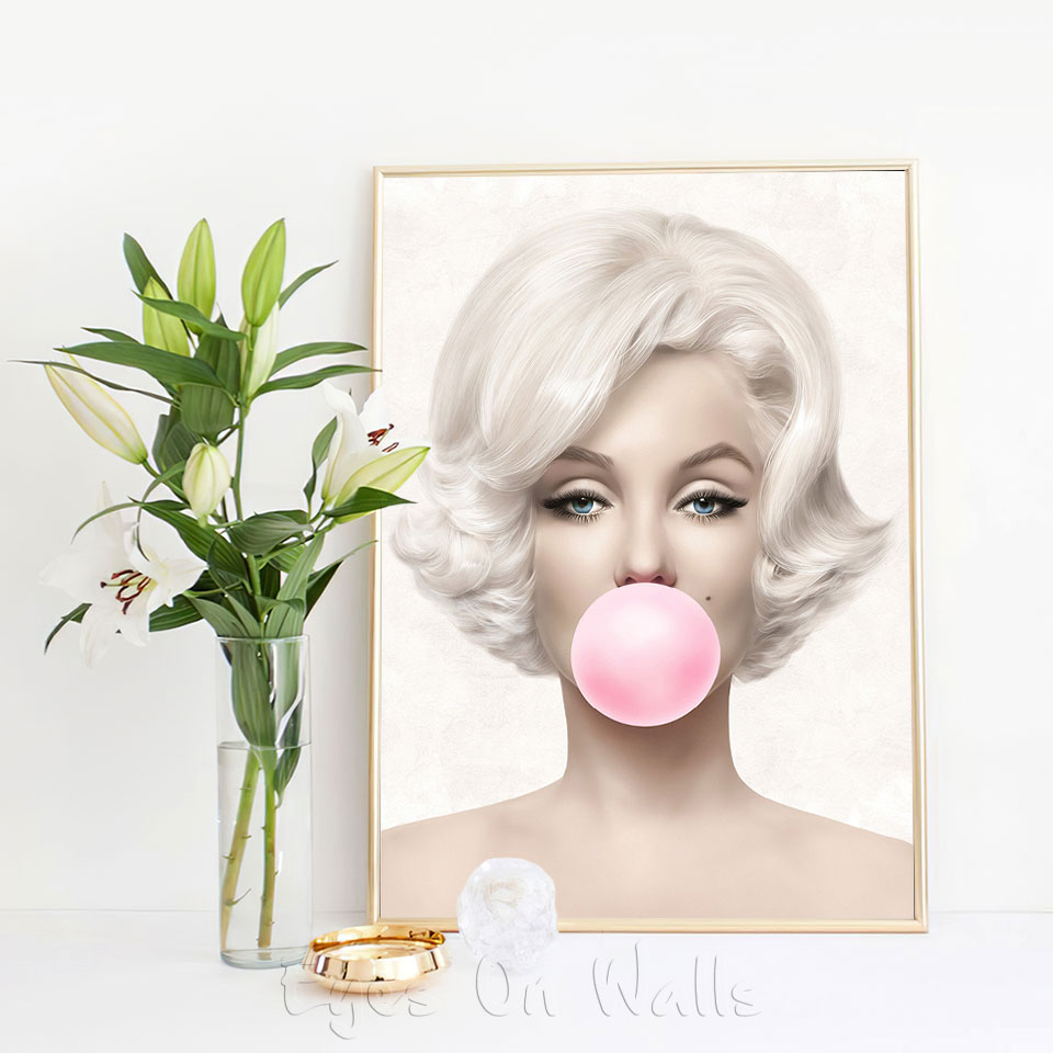 Bubble Gum Fashion Poster Marilyn Canvas Painting Monroe Wall Art Print Modern Picture For Living Room On The Wall Home Decor