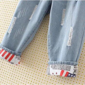 Plus Size Elastic Waist Hemming Boyfriend Loose Ripped Denim Harem Jeans 4Xl 5Xl Light Blue  Girl'S Casual Pants For Women 8