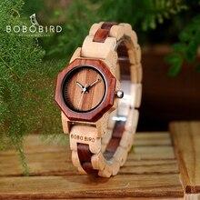 Bobo Vogel Octagon Dames Houten Horloges LM25 Top Merk Luxe Uur Vrouwen Kol In Geschenkverpakking Als Valentijnsdag gift