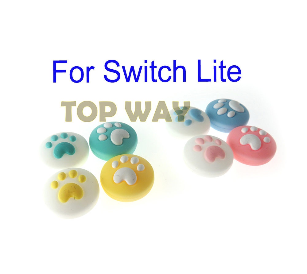 4pcs Cute Cat Paw Claw Thumb Stick Grip Cap Joystick Cover For Nintend Switch Lite NS Joy-Con Controller Gamepad Thumbstick Case