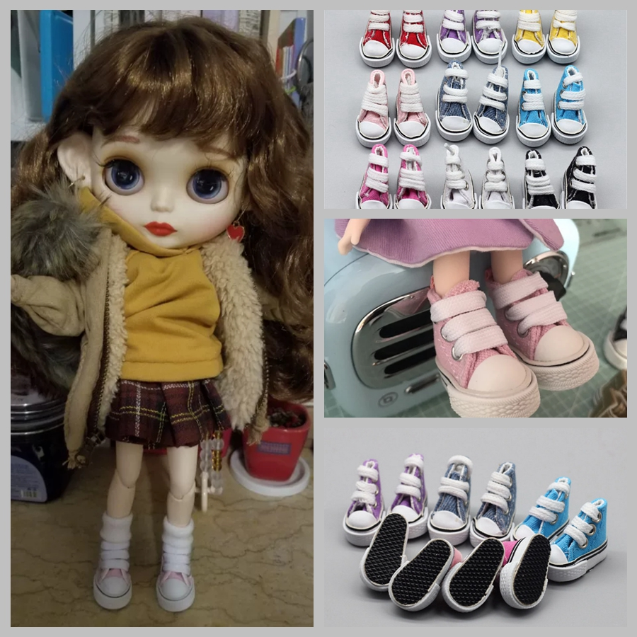 1Pair 3.5cm Fashion Canvas Shoes For Blyth Dolls Causal Shoes  Doll House Mini Shoes For 1/6 BJD Doll Accessories
