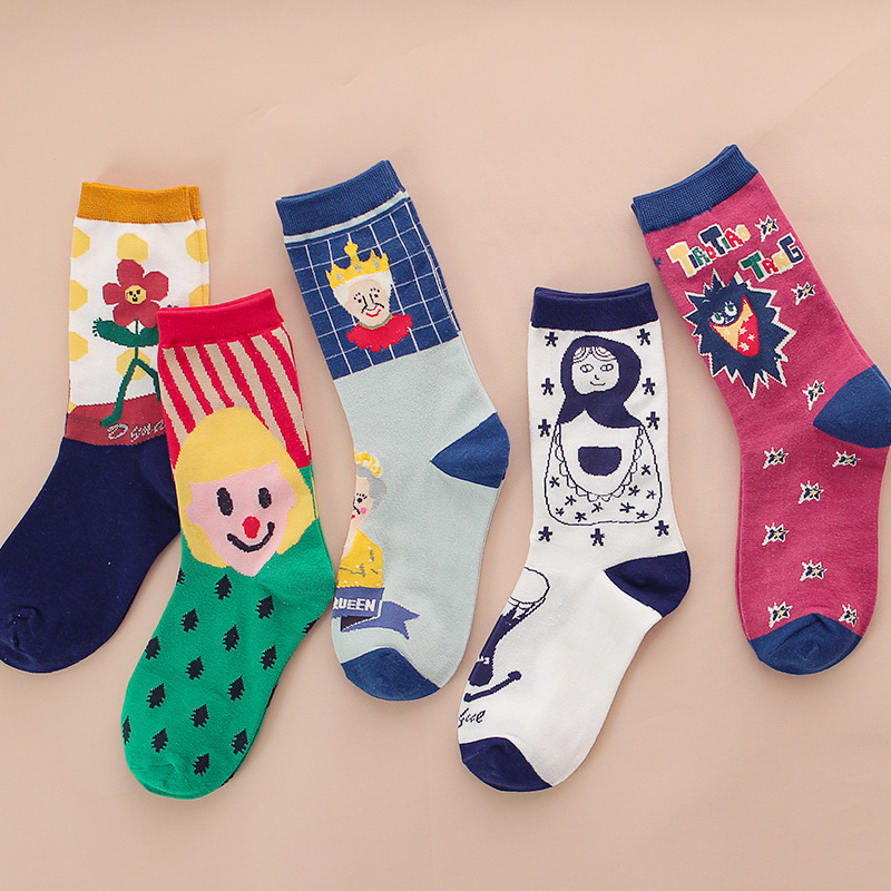European And American Fashion Cartoon Women Socks Funny Cartoon Pop Candy Cute Socks Cotton For Ladies 419
