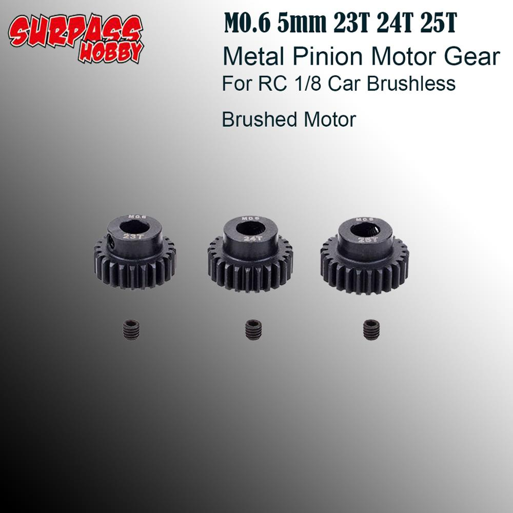 3pcs/set M0.6 5mm 23T 24T 25T Metal Pinion <font><b>Motor</b></font> <font><b>Gear</b></font> for <font><b>RC</b></font> 1/8 Model Car <font><b>Brushless</b></font> Brushed <font><b>Motor</b></font> image