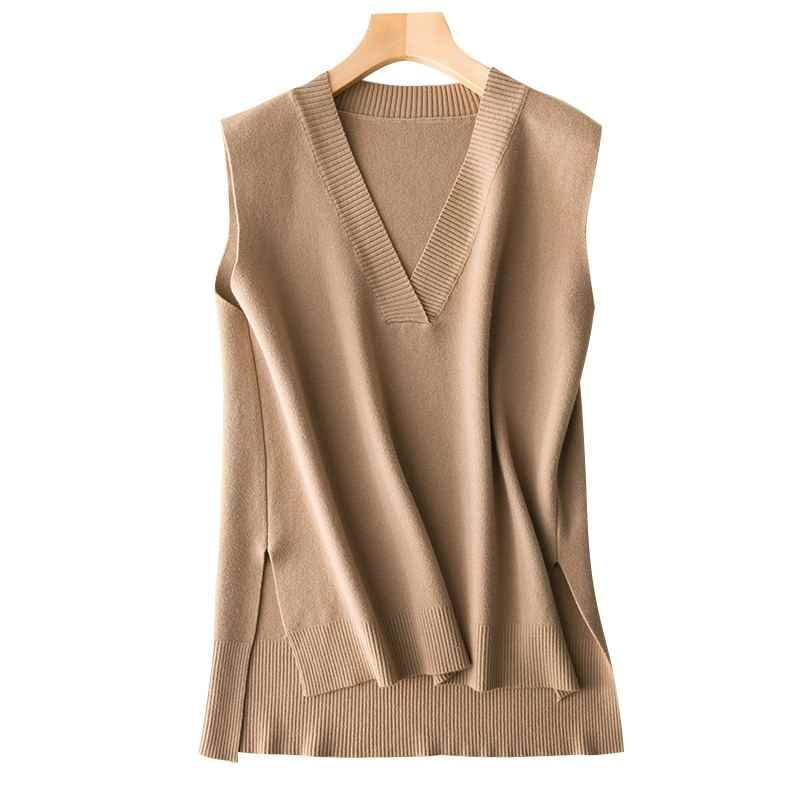 GCAROL 2019 ฤดูใบไม้ร่วงผู้หญิงฤดูหนาวขนสัตว์ 30% V คอถักเสื้อกั๊กด้านแยกไม่สมมาตรถัก Pullover เสื้อกันหนาวแขนกุด Waistcoat XL