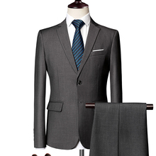 Mens Suits Tuxedo Business Formal-Work Wedding-Party Asian-Size Male Casual 3piece Slim-Fit