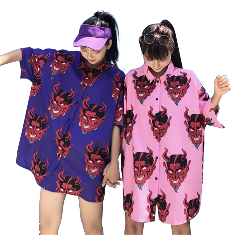 New Fashion Women Shirt Japanese Harajuku Devil Printed Short Sleeve Loose Summer Top Blouse Streetwear Casual Shirts Unisex