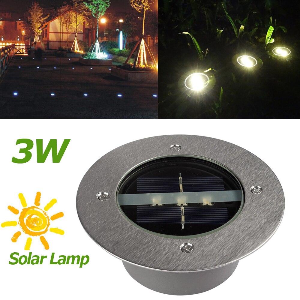 Işıklar ve Aydınlatma'ten Güneş Lambaları'de Sıcak satış güneş lambaları LED dış aydınlatma güneş enerjisi 3 LED gömülü lamba ışığı açık yol yolu bahçe zemin zemin kaplaması title=