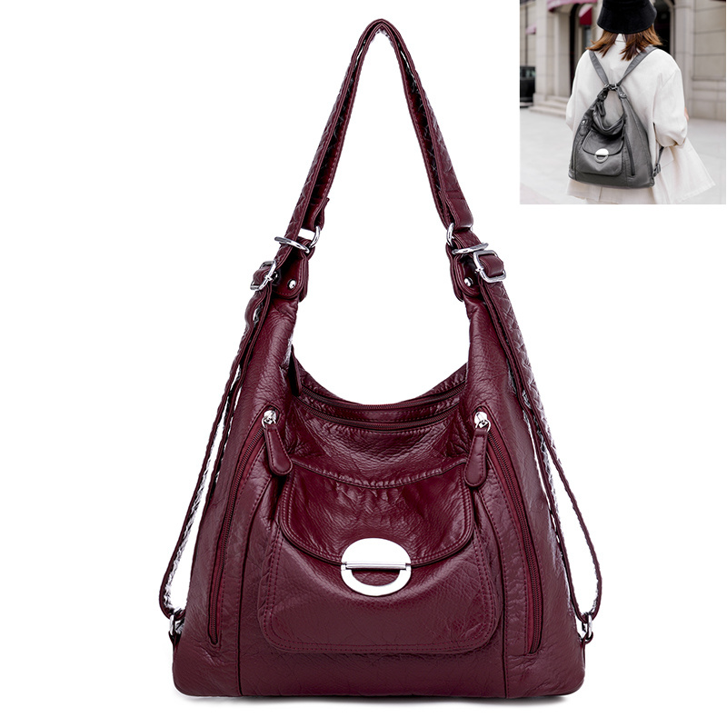 Hot Leather Luxury Handbags women bags designer Multifunction Shoulder Bags for Women Luxury Soft Large Capacity Casual Tote Bag 1