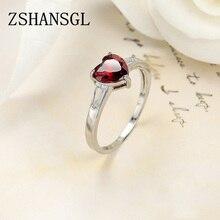 Романтическое 925 пробы Серебряное красное сердце проложить Кристалл CZ палец кольца для женщин модные Свадебные обручальные ювелирные изделия