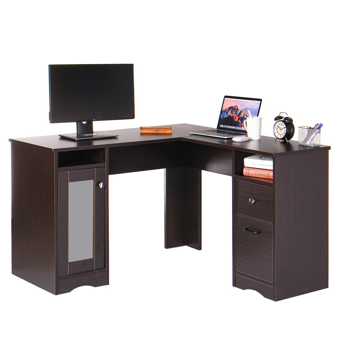 47.2X47.2X29.5in Folding Corner Computer Table Desk L-Shape PC Laptop Stand Desk Home Office Workstation Study Writing Table