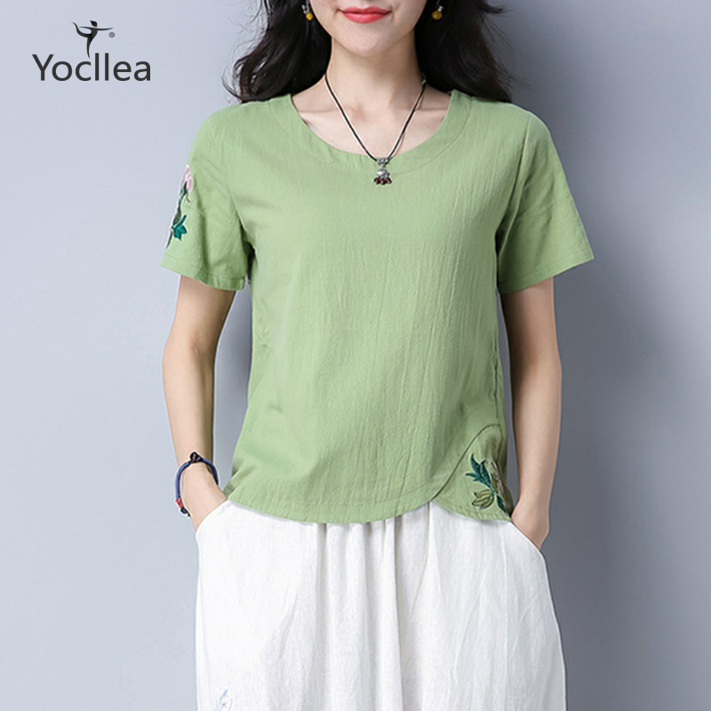 2019 Summer Vintage Embroidery Short Sleeve Tshirt Women Works Casual Plus Size Cotton T Shirt Women Tops Yocllea WJD7942