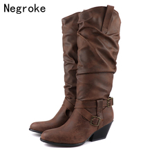2019 Winter Black Leather Women Boots Fashion High Heels Riding Boots Ladies Warm Plush Knee High Boots With Fur Shoe Plus Size стоимость