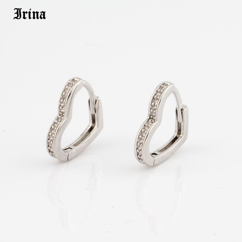 Hoop Earrings Small Heart-shaped earring 585 rose gold color with exquisite zircon fashion earrings Jewelry Wedding accessories