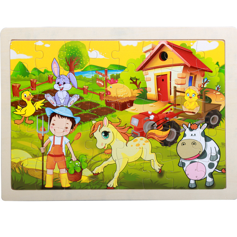 40 Pieces Kids Wooden Puzzle Board Toy Fun Cartoon Animal Jigsaw Boy Girl Baby Early Educational Learning Toys for Children Gift 11