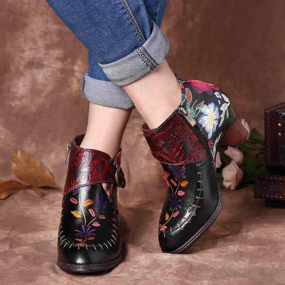 Socofy Kleurrijke Laarzen Stiksels Geschilderd Bloem Echt Lederen Elegante Enkellaarsjes Elegante Schoenen Vrouwen Botines Mujer 2019