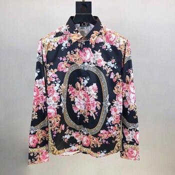 DUYOU Men 100% Cotton Shirt Men Royal Floral Print Dress Shirt Men High Quality Slim Fit Casual Shirts Brand Clothing DY2231