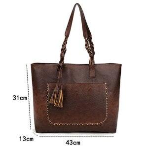 Image 5 - Женская сумка, женская сумка на плечо, Женская Ретро сумка тоут, женская новая модная сумка с кисточками, женские вместительные сумки