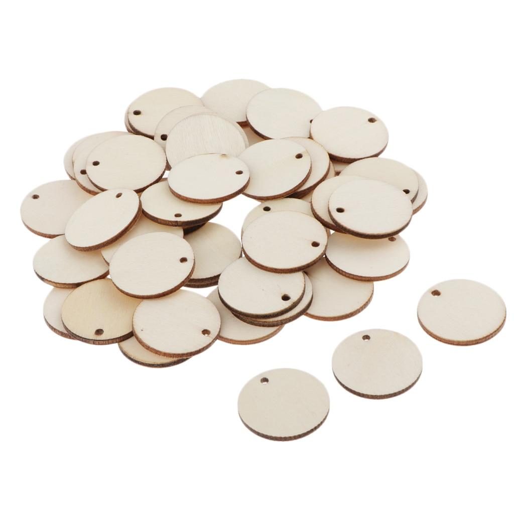 50 X необработанные круглые кусочки, деревянные диски, бревна с отверстием 29 мм