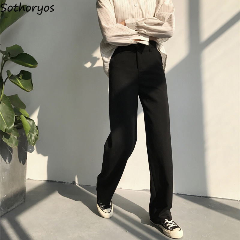 Pants Women High Waist Straight Solid Simple All-match Korean Loose Full Length Pant Womens Trendy Leisure Pockets Trousers