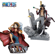 15cm Scultures Big One Piece Figure Toy Luffy Dracule Mihawk Model Doll With Sword Anime Brinquedos for Children