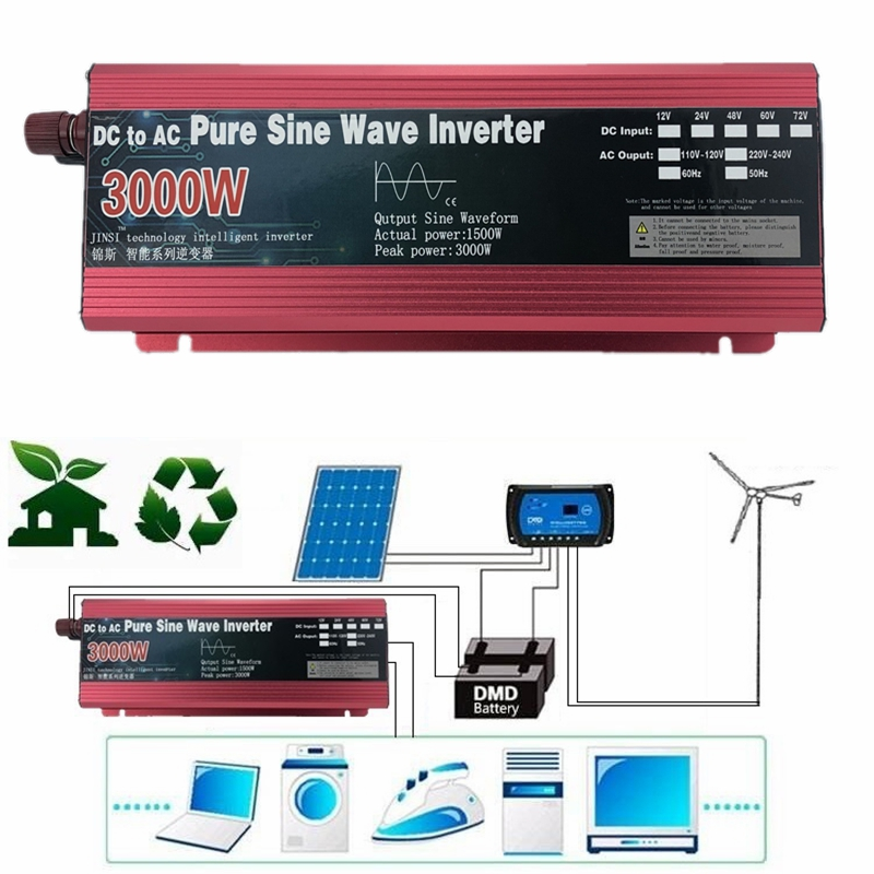 Reine Sinus-wechselrichter 12V/24V zu AC 110V 220V 1600W/2200W/3000W Spannung transformator Stromrichter solar inverter led-anzeige