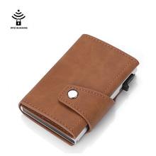 New Hasp Men Credit Card Holder RFID Blocking Genuine Leather Automatic Fashion ID Cardholder Aluminum Cards Wallet Purse
