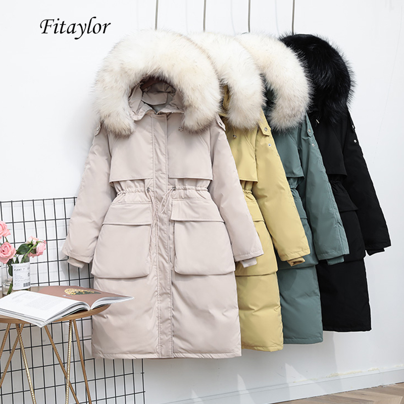 Fitaylor Large Real Raccoon Fur Collar Long Down Jacket Women Winter White Duck Down Parka Warm Loose Thickness Sash Tie Up Coat