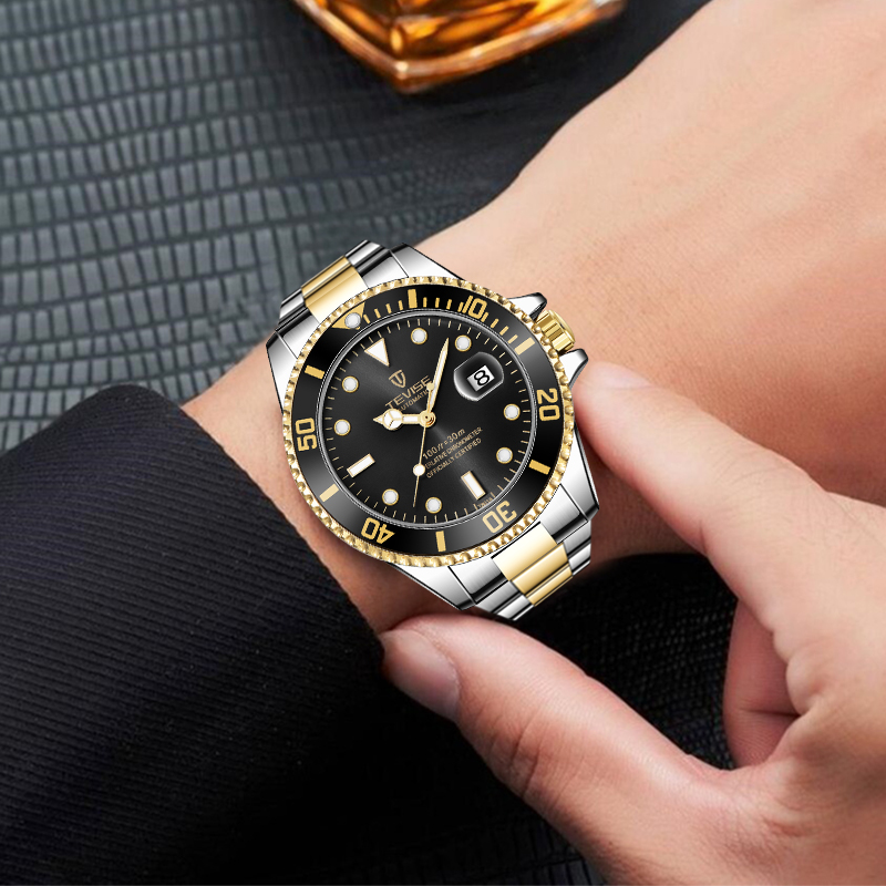 Fashion Brand TEVISE Green Water Ghost Men Stailness steel Automatic Mechanical/Quartz Watch Men Luminous Business Wristwatches