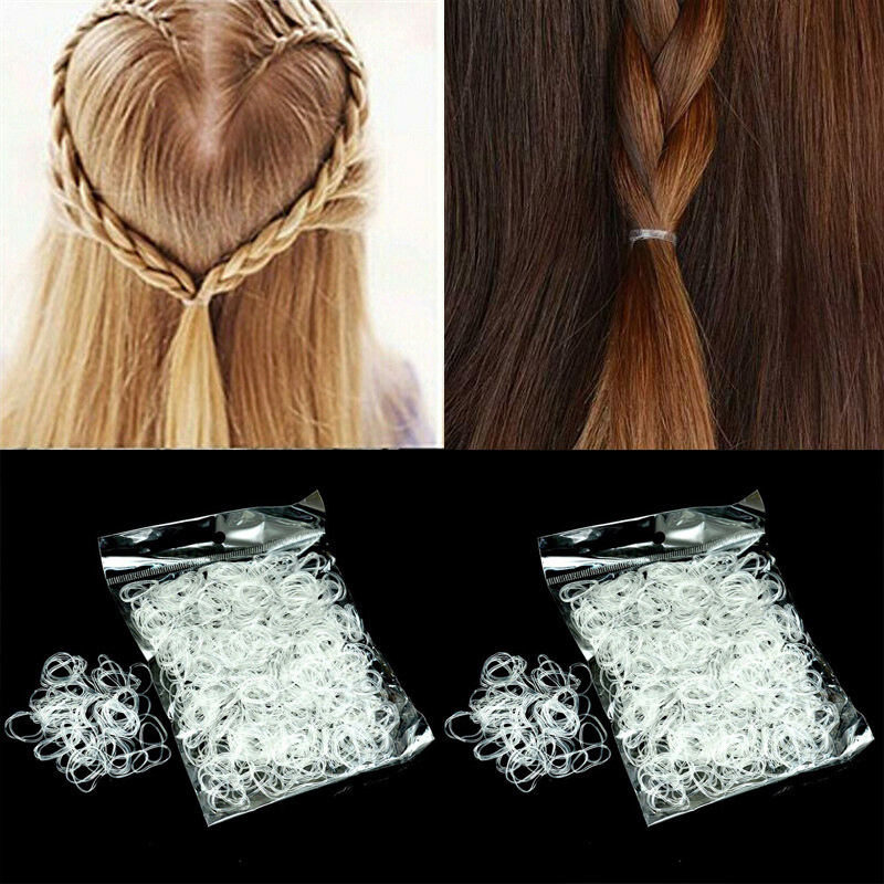 200/500/1000pcs Transparent Ponytail Holder Elastic Rubber Hair Bands Rope Hair Ties Hairband Women Girls Accessories