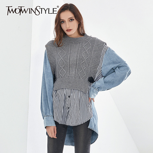 TWOTWINSTYLE Patchwork Striped Blouses For Women O Neck Long Sleeve Casual Oversized Knitted Shirts Female 2020 Autumn Clothing
