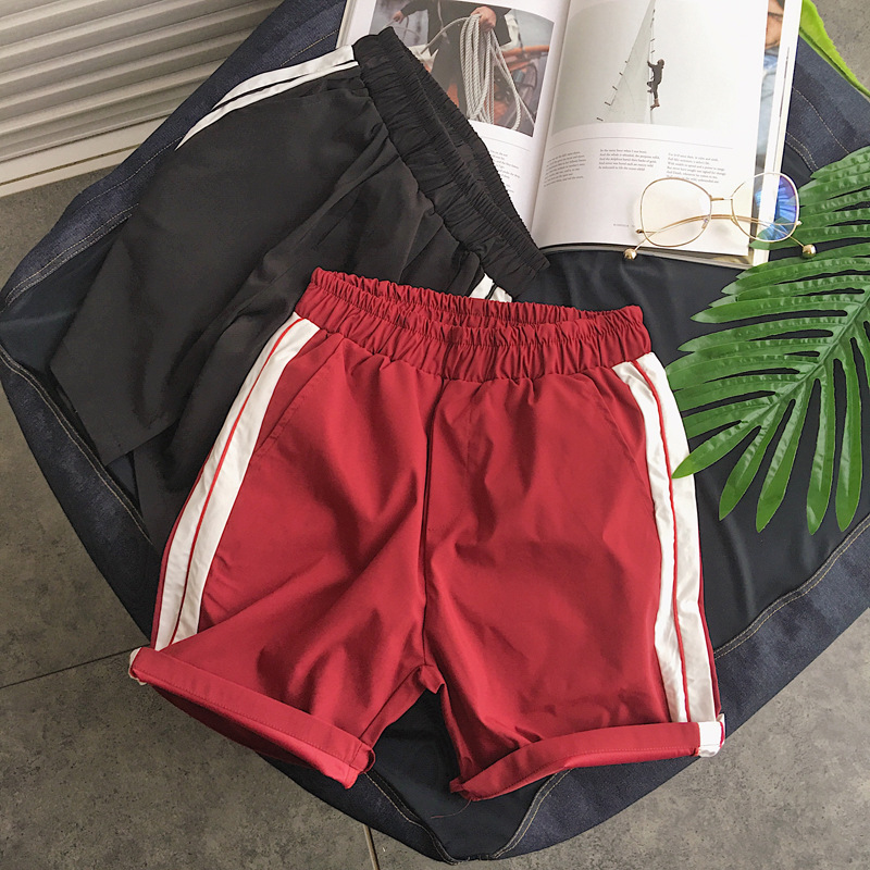 2018 Summer Beach Shorts Men's Trousers Shorts Men's Pants Stripes Trend Hong Kong Style Casual Shorts