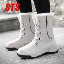 STS Women Boots Winter Keep Warm Shoes Plus Velvet Mid Snow Boots Fashion Outdoor Waterproof Casual Women Shoes zapatos de mujer women winter walking boots ladies snow boots waterproof anti skid skiing shoes women snow shoes outdoor trekking boots for 40c