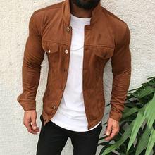 Novo masculino casual botão de emagrecimento casaco jaqueta de náilon jaqueta blusa outono manga longa gola em pé cor sólida casaco de pano masculino