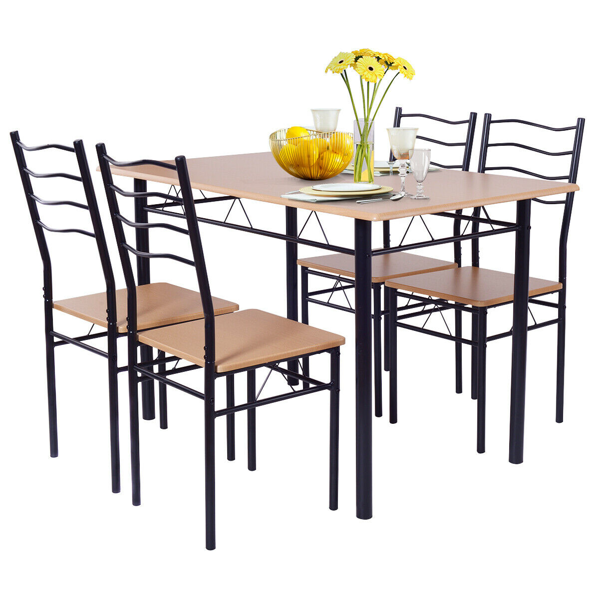 Costway 9 Piece Dining Table Set with 9 Chairs Wood Metal Kitchen Breakfast  Furniture
