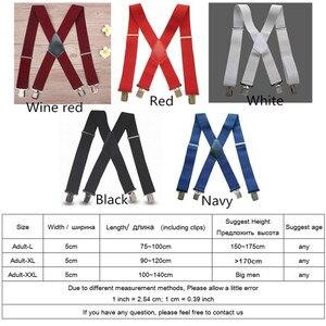 Plus Size 50mm Wide Men Suspenders High Elastic Adjustable 4 Strong Clips Suspender Heavy Duty X Back Trousers Braces 5 Colors