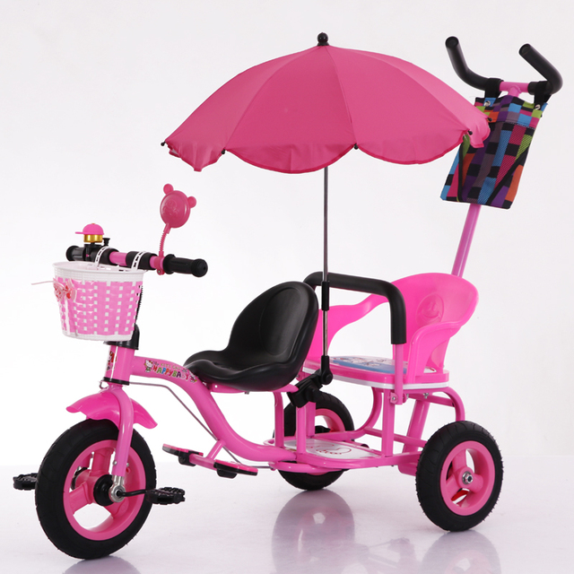 Rubber Wheels Tyres Tandem Trike Double Seat Tricycle,Steel Frame Twins Tricycle For 2 Kids Blue And Pink Color For Available