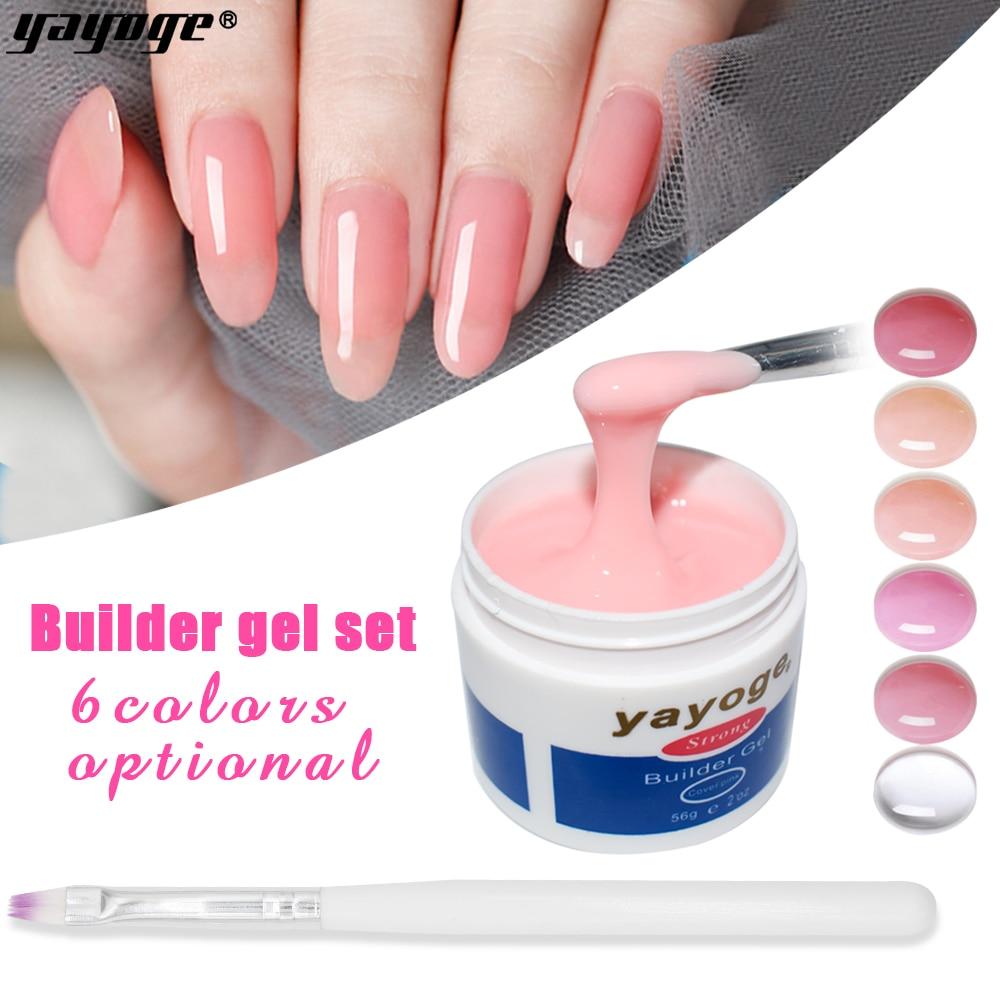 YAYOGE Builder Gel Set Für Nail Extensions 7 Farbe Poly Builder Gel Kit mit tipps Gel Tränken weg Für nail art Maniküre set