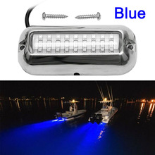 Blue 27 LEDs Underwater Boat Marine Transom Light 316 Stainless Steel Pontoon Beam lamp