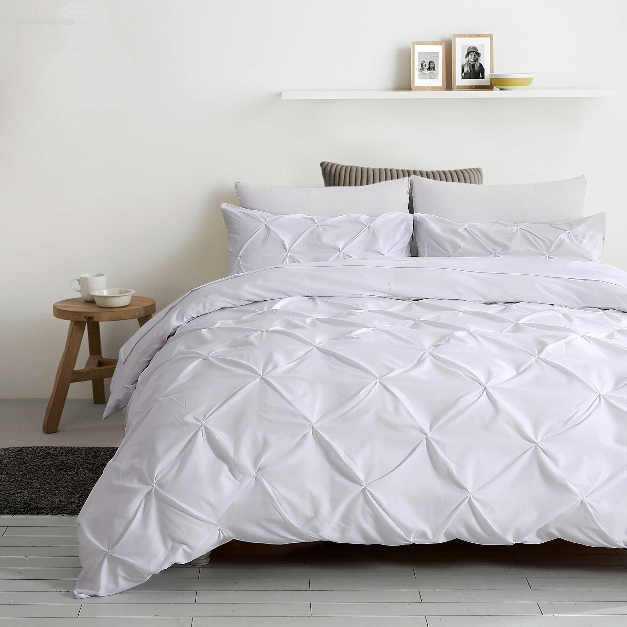 Эластичный пинч плиссированный стиль Новый Модный Королева и король off Белый Серый 3 шт. набор пододеяльников для пуховых одеял с застежкой-молнией комплекты постельного белья