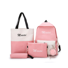 New 4Pcs/set Women School Backpacks High capacity Nylon bag Pink For Teenagers Girls Student Book Bag Boys Satchel