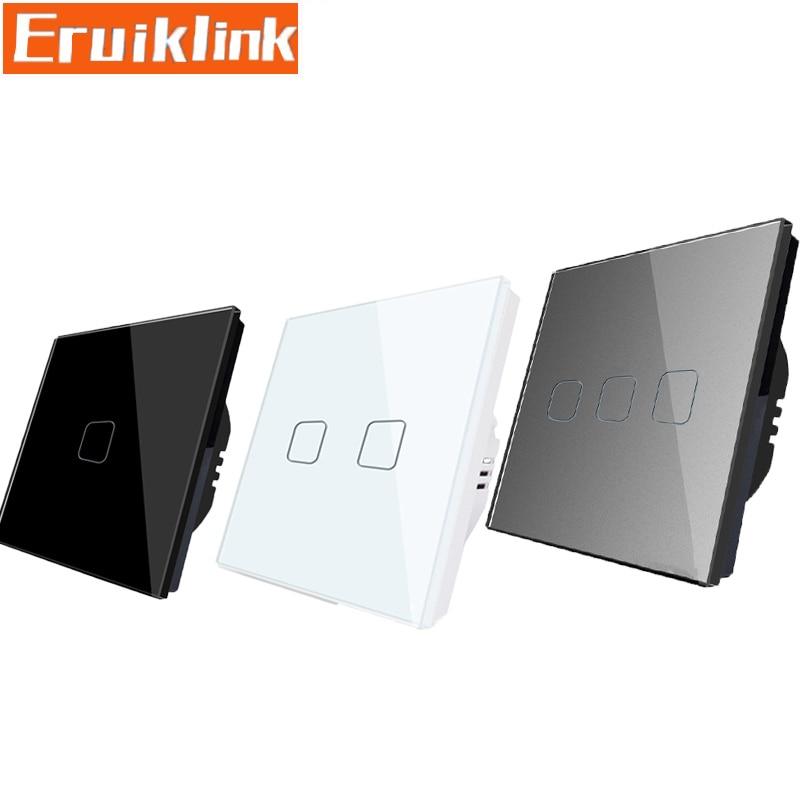 EU/UK Standard Wall Light Switch,1/2/3 Gang 1 Way Touch Screen Switch,Crystal Glass Panel Single Fireline Light Sensor Switch